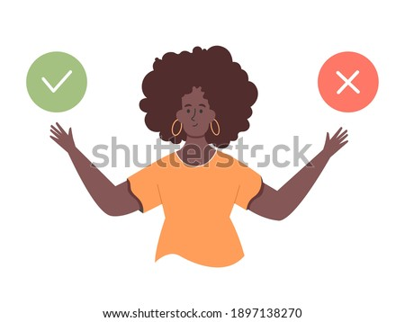 Black cute girl character. Choice of two options. Concept for do and don't, yes and no, like and dislike, pro and contra. Agree or reject. Vector flat illustration. Foto stock ©