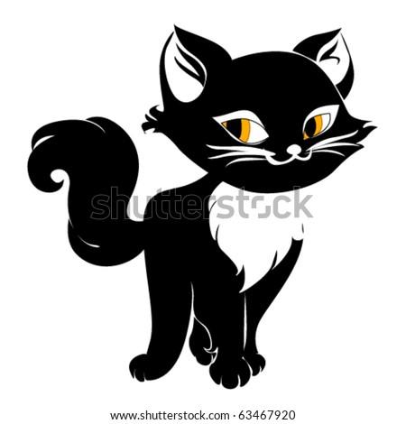 Black cute vector cat
