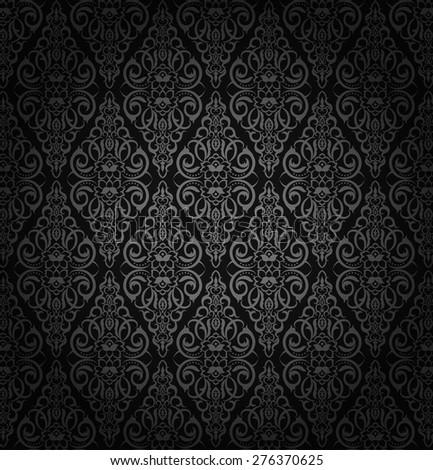 Black damask vintage floral pattern, vector illustration.