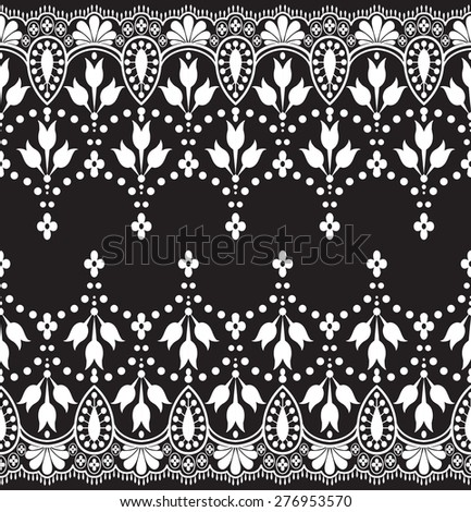 Black damask vintage floral pattern vector illustration