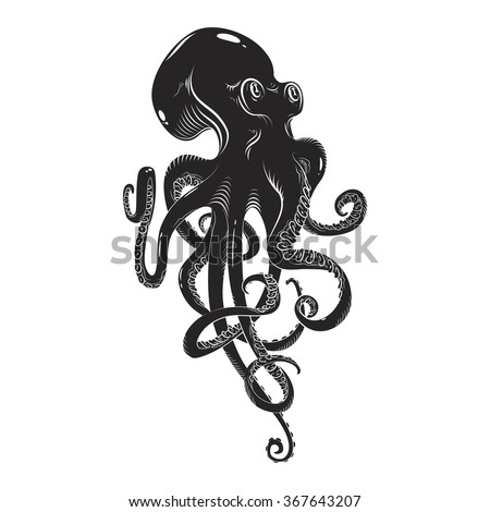 black danger cartoon octopus