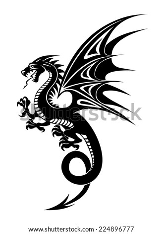 Black danger dragon isolated on white background Vector illustration