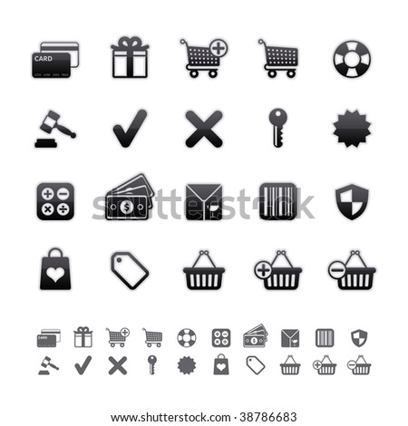 Black Deluxe Icons - Shopping Set. Editable Vector File in Adobe Illustrator EPS 8. - stock vector