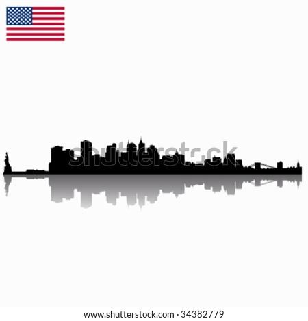 Black detailed vector New York silhouette skyline with USA flag