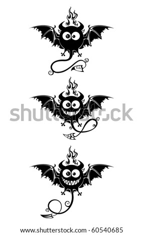 Black devils with bat's wings and long tails. Big eyes and smiling jaws, fire from the top of the head. Fun characters, contour.