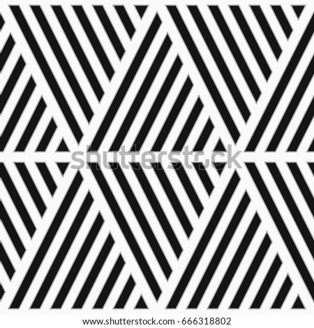 Black diagonal lines on white background. Seamless surface pattern design with linear ornament. Slanted strokes wallpaper. Hash stroke motif. Digital paper with angled stripes for textile print.
