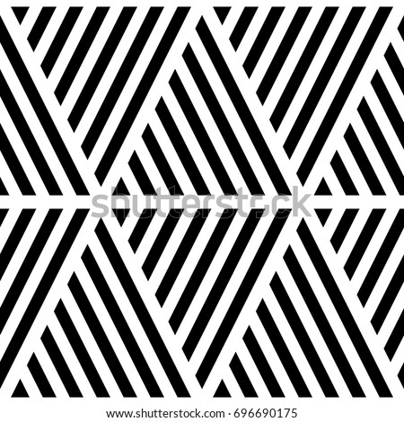 Black diagonal lines on white background. Seamless surface pattern design with linear ornament. Slanted strokes wallpaper. Hash stroke motif. Digital paper with angled stripes for print. Vector shapes