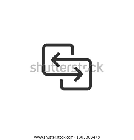 black direction arrows for transfer, sync, migration data. traffic bridge or exchange conept. linear logotype graphic art design isolated on white background.