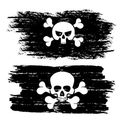 Black dirty pirate flags with skulls vector illustration isolated on white background