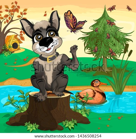 black dog sitting on a stump at
