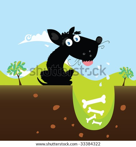 Black dog with bones, VECTOR. Cute black dog in nature with bones in hole. Vector illustration.