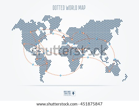 Modern South America Map In Dots Style Download Free Vector Art Classy Flight Pattern Map