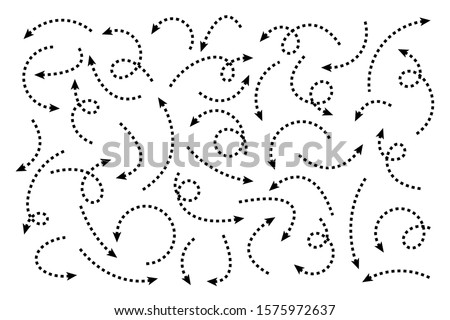 Black Dotted Hand Drawn Arrows Set on White Background. Arrow, Cursor Icon. Vector Pointers Collection. Back, Next Web Page Sign.