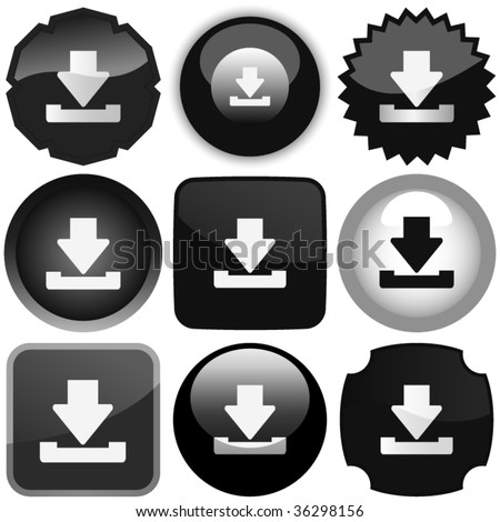 Black download icons. Vector set.