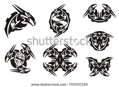 c84b378dc993e ... Black dragon head symbols in tribal style. Peaked twirled dragon head  symbols for a tattoo ...