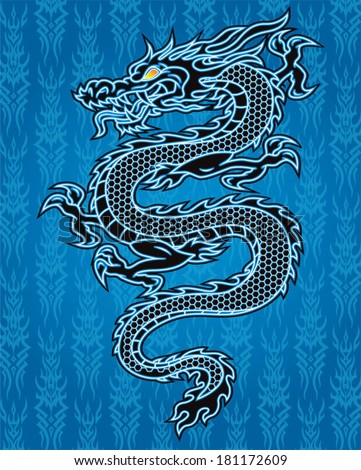black dragon on blue background