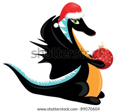 black dragon on red hat with ball