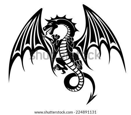 08fde90f58363 ... logo vector illustration design idea creative sign · Black dragon  tattoo isolated on white background.