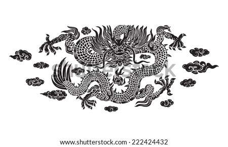 black dragon with cloud and