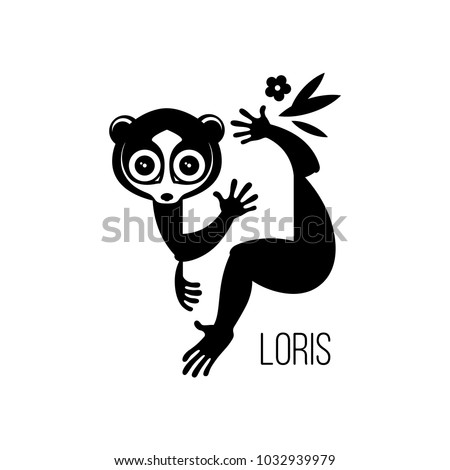 Shutterstock Black drawing, logo or icon of a wild nocturnal eyed animal lemurs Lori, who can be a pet sitting on a branch of a tropical tree. Silhouette, engraving, vector, isolated on background for design.