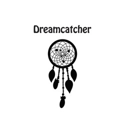 Black dreamcatcher silhouette isolated. Native american talisman. Boho style.Vector art