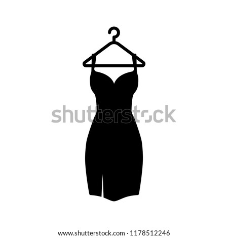 Black Dress On A Hanger Icon.Isolated On White Background