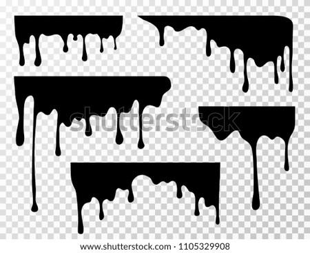 Black dripping oil stain, sauce or paint current vector silhouettes isolated. Liquid splash, splatter border, trickle leak illustration