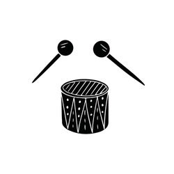 Black drums with drumsticks isolated on white background. Musical instrument ornament percussion audio rhythm. Silhouette vintage wooden equipment. Disco hit. Concert loud beat. Use to poster, website