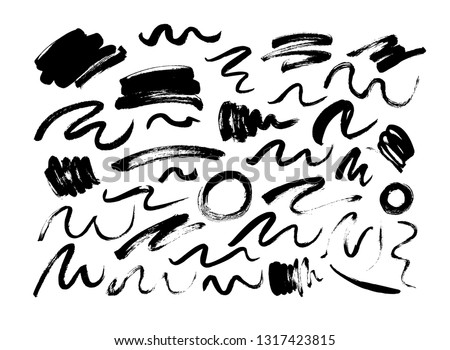 Black dry brushstrokes hand drawn set. Grunge smears collection with curled lines and circles. Abstract ink brush doodle textures. Freehand drawing. Grunge design elements.