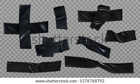 Black duct tape set. Insulating adhesive wrinkled stripes and cross glued sticky scotch pieces for fix, repair or packaging purpose isolated on transparent background Realistic 3d vector illustration