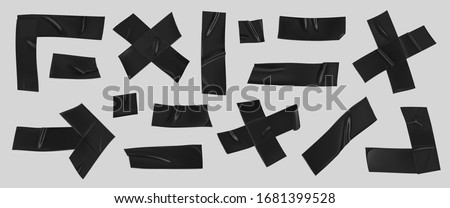 Black duct tape set. Realistic black adhesive tape pieces for fixing isolated on grey background. Arrow, cross, corner and paper glued.