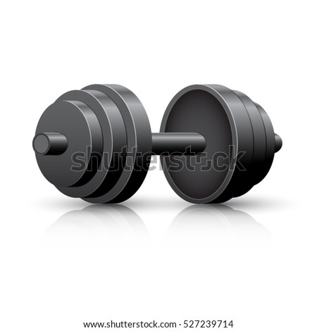 Black dumbbell isolated on a white background. Dumbbell vector icon.