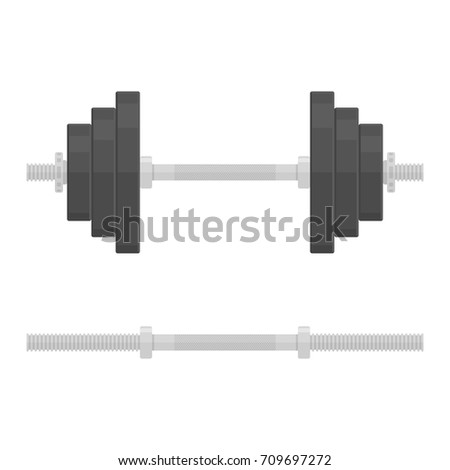Black dumbbells in flat style, isolated on white background. Fitness, training gym tool. Dumbbell with removable disks. Vector illustration. EPS 10.