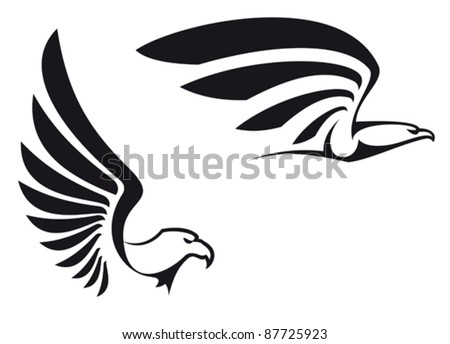 Black eagles isolated on white background for mascot or emblem design, also a logo idea. Rasterized version also available in gallery