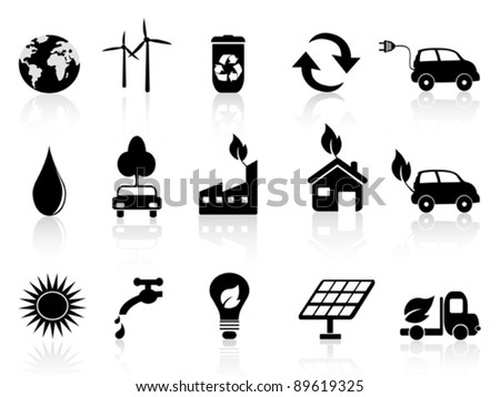 black eco icon - stock vector