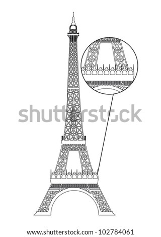 black eiffel tower isolated over white background. vector