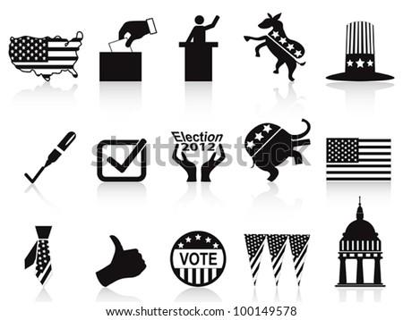 black election icons set