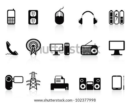 black electronic icons set