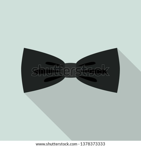 Black elegant bow tie icon. Flat illustration of black elegant bow tie vector icon for web design