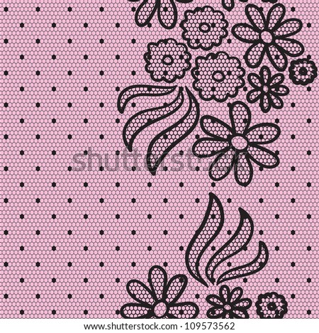 Black elegant dotted lace seamless vector pattern