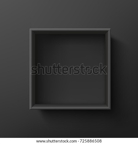 Black empty box on black background. Top view. Template for your presentation design, banner, brochure or poster. Vector illustration.