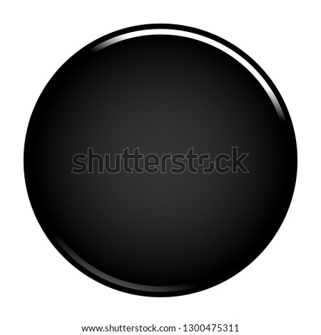 Black empty round button. Glossy icon circle shape isolated on white background. The graphic element for design saved as a vector illustration in the EPS file format. #1300475311