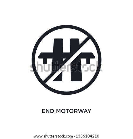 black end motorway isolated vector icon. simple element illustration from traffic signs concept vector icons. end motorway editable logo symbol design on white background. can be use for web and