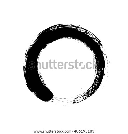Black enso zen circle on white background.  Vector illustration.