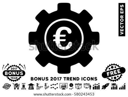 Black Euro Development Gear icon with bonus 2017 trend design elements. Vector illustration style is flat iconic symbols, white background. #580243453