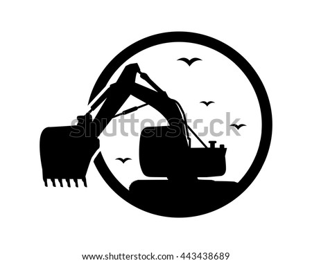 black excavator excavation heavy machinery builder image vector icon logo