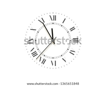 Black face clock, five minutes to midnight. Vector watch