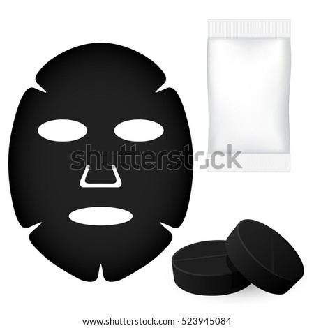 black face mask with pills and