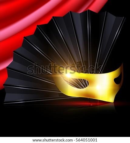 black fan and yellow mask