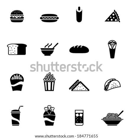 Black fast food icon - Illustration